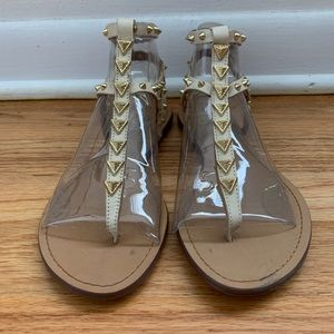 Cream Leather Sandals with Gold Detail